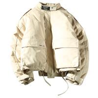 冬季美式潮男士立领工装棉衣日系休闲保暖外套宽松外套印花帽毛口袋拆卸两件款冬军绿色
