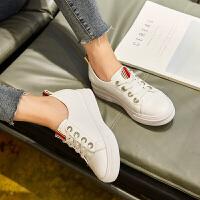 Galendar女子板鞋2017新款百搭厚底增高小白鞋真皮平底学生休闲板鞋小码 MG8091