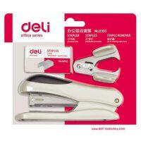 得力(deli)0355 12#订书机套装(起订器+订书针+订书机) 颜色随机