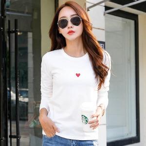 2017秋季新款女装上衣白色长袖t恤女修身纯色韩版简约打底衫体恤