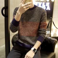 新款男士线衫潮男毛衣韩版修身拼色针织衫日系圆领外套青年男装套头线衣 灰色