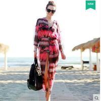 雪纺开衫波西米亚沙度假长袖泳衣外套滩裙长裙连衣裙开衫印花海边 可礼品卡支付