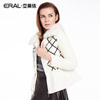 ERAL/艾莱依韩版修身时尚圆领格子羽绒服女冬装长袖短款12031-EDA