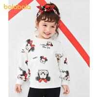 【2件6折价:74.9】巴拉巴拉童装宝宝卫衣女童时尚春秋儿童休闲满印图案