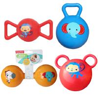 【当当自营】费雪(Fisher Price)儿童玩具球四合一(4寸摇铃球蓝色+哑铃球黄色+糖果球红色+拉拉球红色)