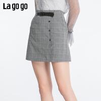 【年终狂欢节两件四折/叠满200-10优惠�弧�Lagogo2019秋季新款高腰A字格子半身裙女淑女气质短裙ICBB14