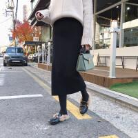 黑色加厚开叉针织半身裙包臀裙一步裙中长款秋冬长裙女毛线裙子潮 均码 加厚均码