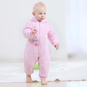 【加拿大童装】Gagou Tagou婴儿连体衣秋冬季加厚纯棉新生儿冬服装男女宝外出抱衣 婴儿外出服连帽