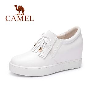 Camel/骆驼女鞋 新款  小流苏休闲轻便内增高深口单鞋