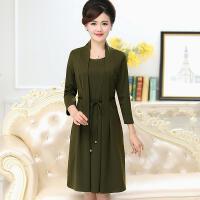 中老年女装套装妈妈装连衣裙假两件套中年女装春夏装40-50岁裙子 XXXX