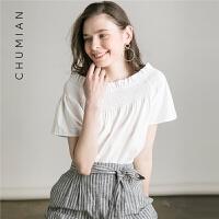 初棉2018夏装新款一字领白色短袖衬衫女宽松露肩纯棉白衬衣女