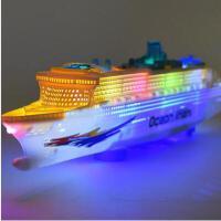 电动灯光音乐万向 大号豪华游轮模型轮船快艇 儿童电动玩具