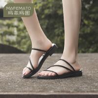 玛菲玛图露趾凉鞋女2020新款时尚夏季细带平底简约风罗马懒人凉拖鞋女外穿611-6W