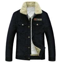 58128秋冬新品战地吉普纯棉翻领短款加绒夹克外套 男士条绒茄克衫