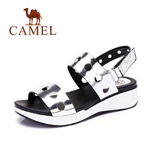 Camel/骆驼女鞋 时尚休闲 镜面 纤镂空魔术贴中跟凉鞋新品