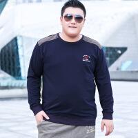 超大码男装大码男装宽松胖子男士加肥加大号肥佬T恤圆领长袖套头卫衣春秋季