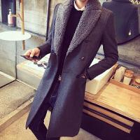 冬季毛领男士呢子大衣韩版潮中长款加厚毛呢外套帅气妮子风衣