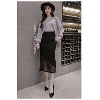 春秋新款高腰蕾丝针织半身裙中长款加厚毛线一步裙包臀裙半身长裙 黑色 均码 90-130斤