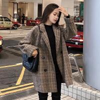 暖姿语chic韩版宽松格子毛呢外套女短款小个子西装呢子大衣学生秋冬新款