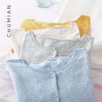 初棉色纺纱薄款开衫外套女2019春装新款针织开衫女短款复古空调衫