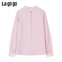 Lagogo/拉谷谷2020春季新款粉红色长袖雪纺泡泡袖上衣女JASS532A67