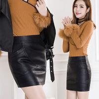 2017秋冬新款高腰pu皮裙半身裙包臀裙女黑色一步裙短裙修身显瘦 黑色 M 2尺