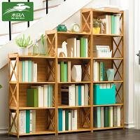 木马人简易书架落地置物实木简约儿童学生收纳桌上面客厅小书柜子