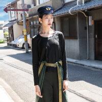 生活在左2019秋季女装新款黑色套头圆领拼接针织衫不规则衣摆上衣