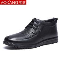 奥康棉鞋男冬季加绒英伦保暖皮鞋真皮商务休闲男鞋棉皮鞋