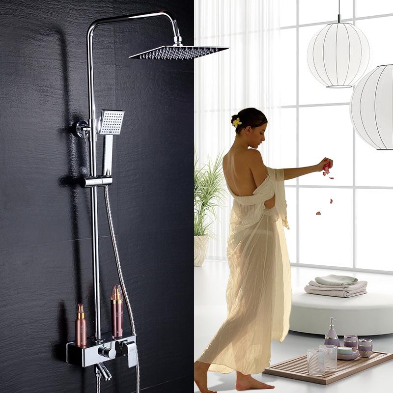 贝乐BALLEE25127全铜主体方形花洒带镀铬塑料置物台升降淋浴花洒套装不锈钢顶喷