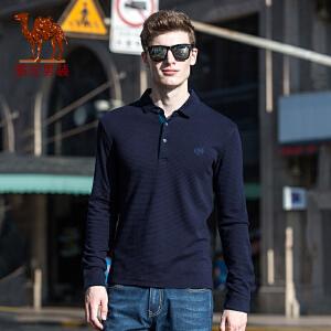 骆驼男装 2017年冬季新款纯色门筒领绣标长袖商务休闲男青年T恤衫