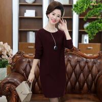 秋针织衫长款30-40岁妈妈装春秋纯色羊毛连衣裙中长款中年 宽松针织衫裙子
