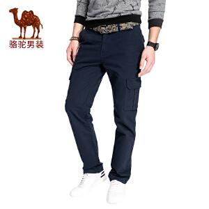 骆驼男装 2017秋季新款直筒宽松男士多袋工装休闲裤男长裤