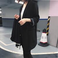 2018春秋女装长袖新款休闲西装外套中长款女士宽松小西装上衣黑色 黑色 XS 建议90-100斤