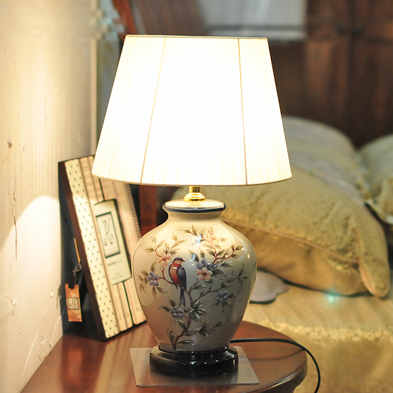 墨菲  欧式台灯温馨卧室床头灯 创意时尚简约现代新中式结婚庆新婚房陶瓷美式乡村田园客厅灯具摆件