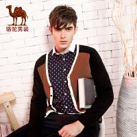 骆驼男装 春秋季男士开衫修身型 针织衫V领纯棉毛衣外套 男