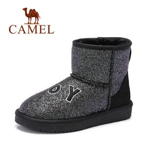 camel骆驼女鞋  时尚防寒刺绣字母亮片女中筒靴雪地靴潮靴