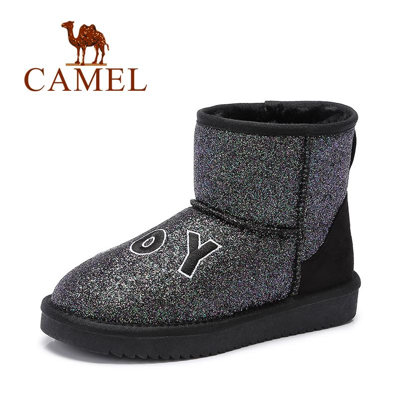 【领卷下单立减120元】camel骆驼女鞋  时尚防寒刺绣字母亮片女中筒靴雪地靴潮靴