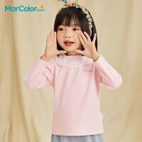 马卡乐童装2021春款女童宝宝精致领口甜美可爱全棉休闲长袖T恤潮