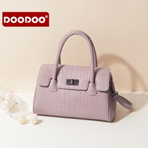 【支持礼品卡】DOODOO 手提包包女2018新款斜挎小包女士时尚编织小清新单肩包女包 D7088
