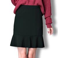 2018韩版修身鱼尾裙针织高腰中长裙黑色半身裙秋冬大码一步裙伞裙
