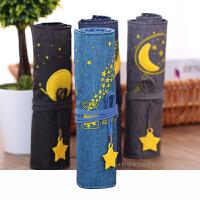 学生铅笔文具盒男生女生笔帘创意可爱时尚卷帘帆布笔袋