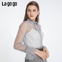 Lagogo2019年秋季新款复古波点荷叶边衬衫女浅蓝色上衣ICCC498C36