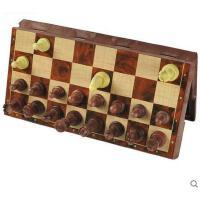 便携大号仿木制带磁性绒布折叠国际象棋套装 送西洋跳棋 可礼品卡支付