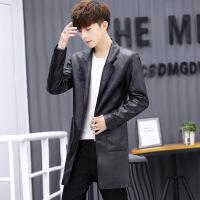 2018春秋新款男士皮衣中长款青年风衣修身韩版帅气潮流皮夹克外套PY17802