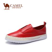 Camel骆驼女鞋 春秋新款乐福鞋牛皮圆头平跟潮鞋休闲平底单鞋