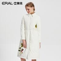 ERAL/艾莱依2017秋冬新款绣花羽绒服女中长款羽绒大衣16318-FDAC