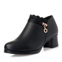 妈妈鞋软底舒适春秋季中跟女士皮鞋中年女鞋中老年单鞋子