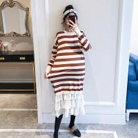 2019新款时尚中长款针织打底衫过膝毛衣长裙孕妇秋冬装连衣裙