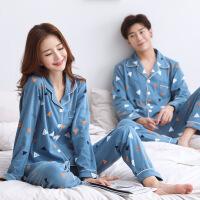 2套价 情侣睡衣春秋冬季女长袖纯棉开衫男士韩版可外穿套装家居服